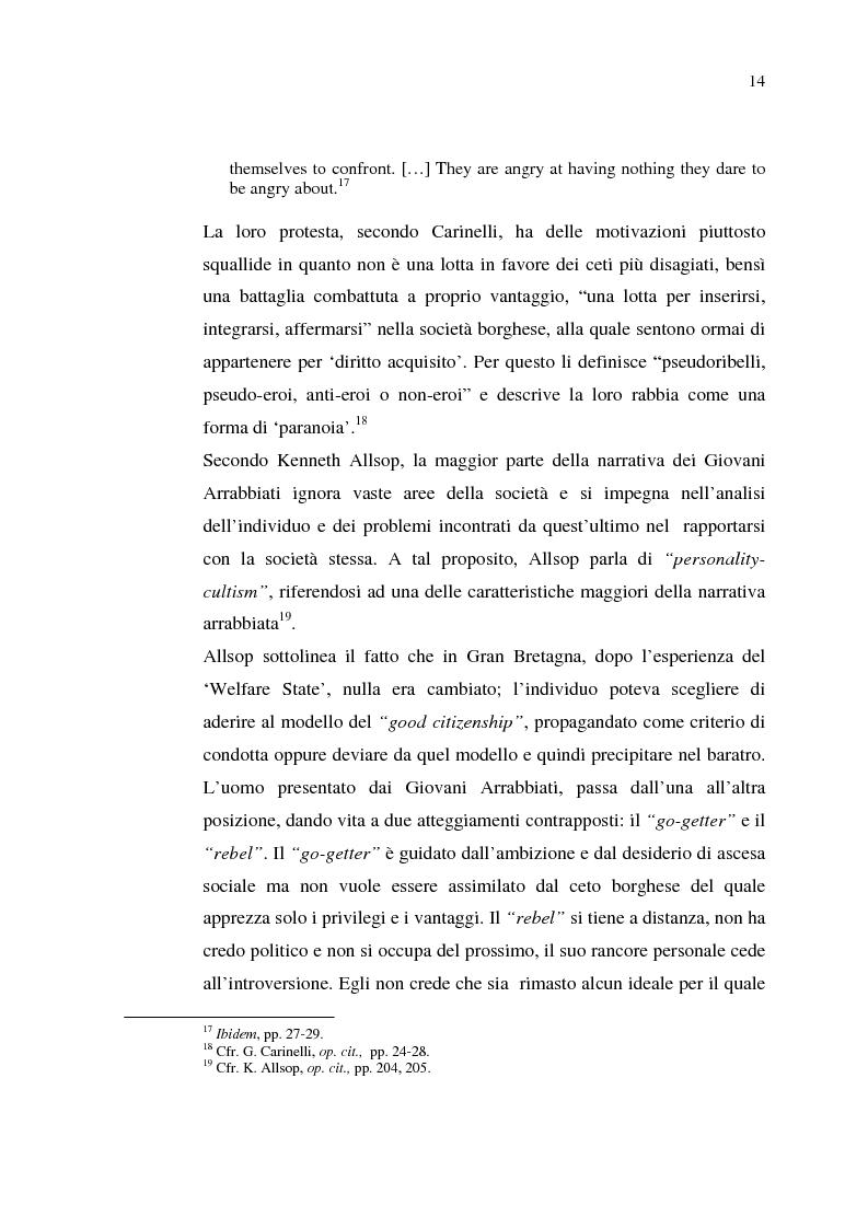 Anteprima della tesi: La cultura della 'Working-Class' in due romanzi di Alan Sillitoe, Pagina 14