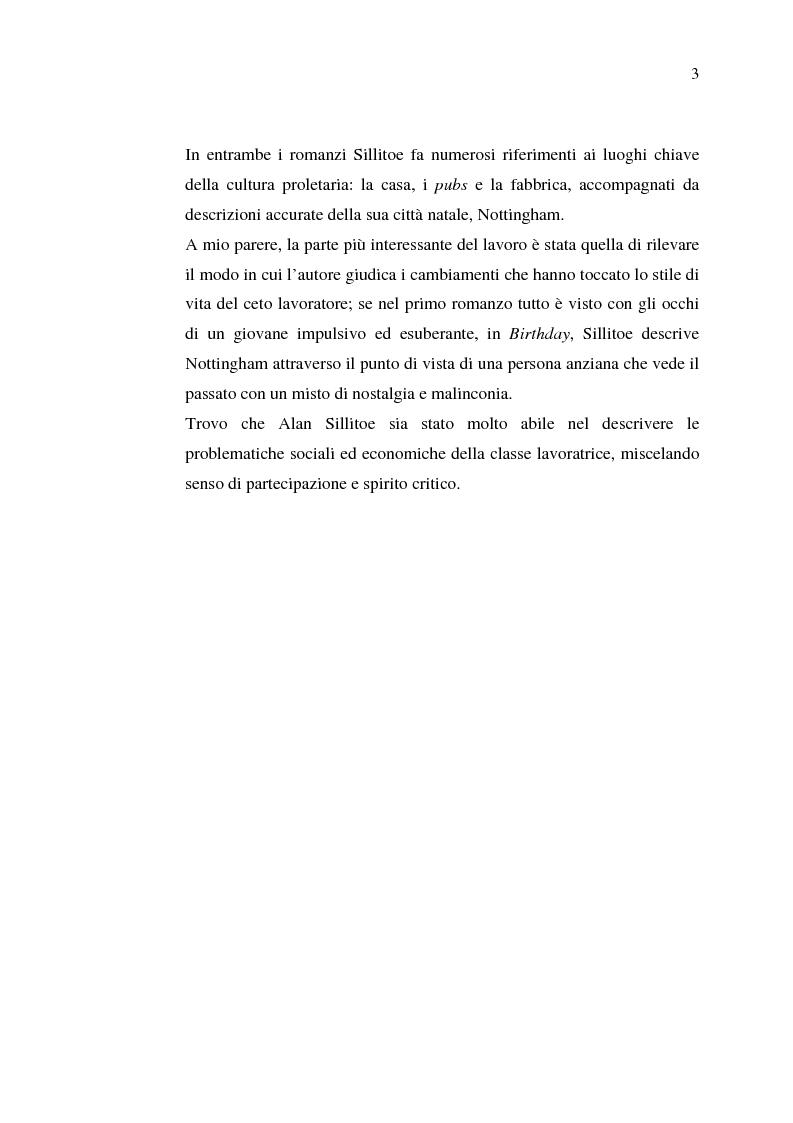 Anteprima della tesi: La cultura della 'Working-Class' in due romanzi di Alan Sillitoe, Pagina 3