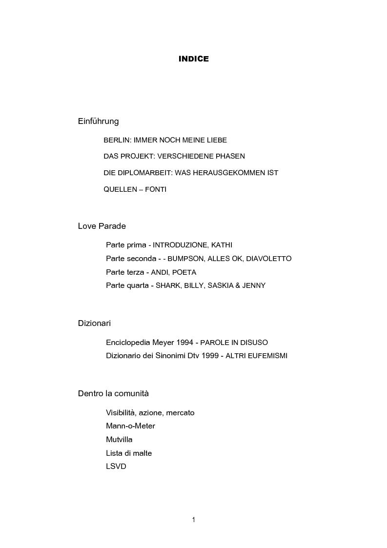Indice della tesi: Studio sociolinguistico sulla comunità gay di Berlino, Pagina 1