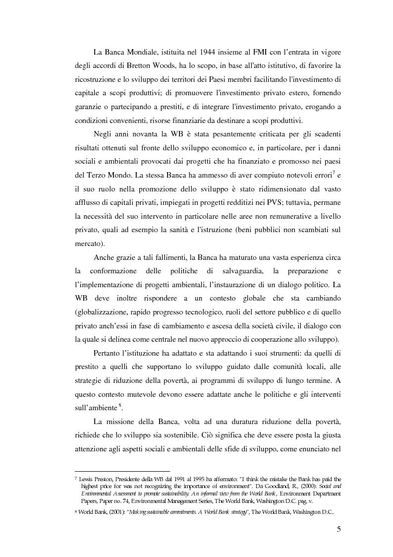 Anteprima della tesi: La valutazione degli impatti ambientali e sociali nelle politiche e nei progetti della Banca Mondiale. Tematiche specifiche relative alla biodiversità, Pagina 3