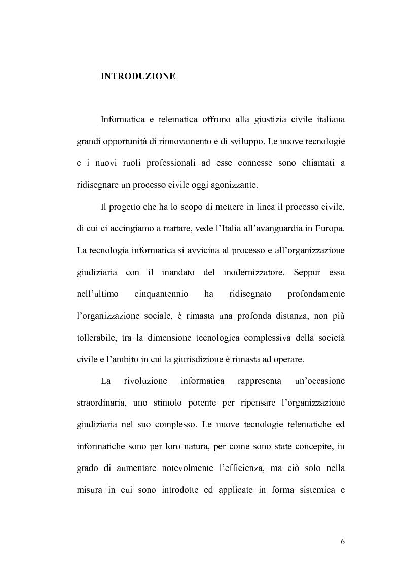 Anteprima della tesi: L'informatizzazione del processo civile, Pagina 1