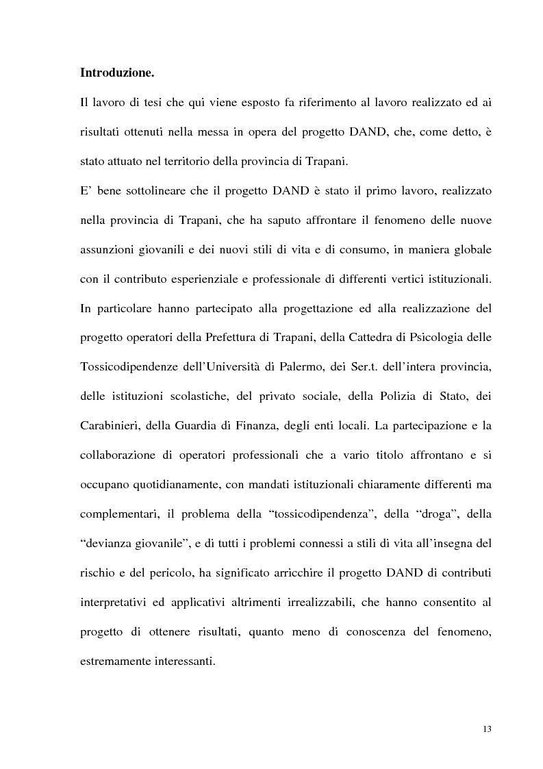 Anteprima della tesi: Il fenomeno delle assunzioni di nuove droghe nei giovani trapanesi. Stili comportamentali tra normalità e disagio, Pagina 11