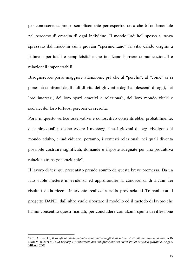 Anteprima della tesi: Il fenomeno delle assunzioni di nuove droghe nei giovani trapanesi. Stili comportamentali tra normalità e disagio, Pagina 13