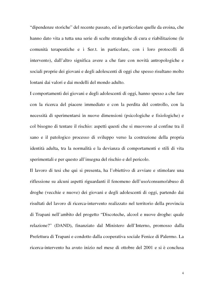 Anteprima della tesi: Il fenomeno delle assunzioni di nuove droghe nei giovani trapanesi. Stili comportamentali tra normalità e disagio, Pagina 2