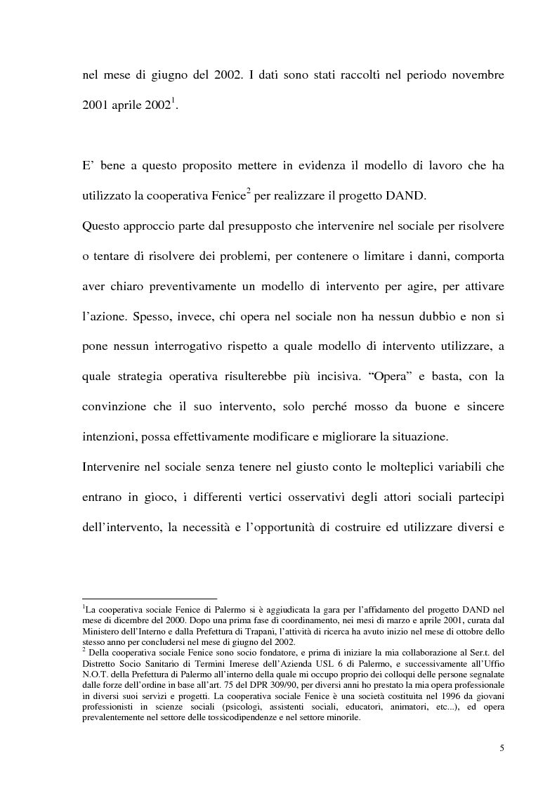 Anteprima della tesi: Il fenomeno delle assunzioni di nuove droghe nei giovani trapanesi. Stili comportamentali tra normalità e disagio, Pagina 3