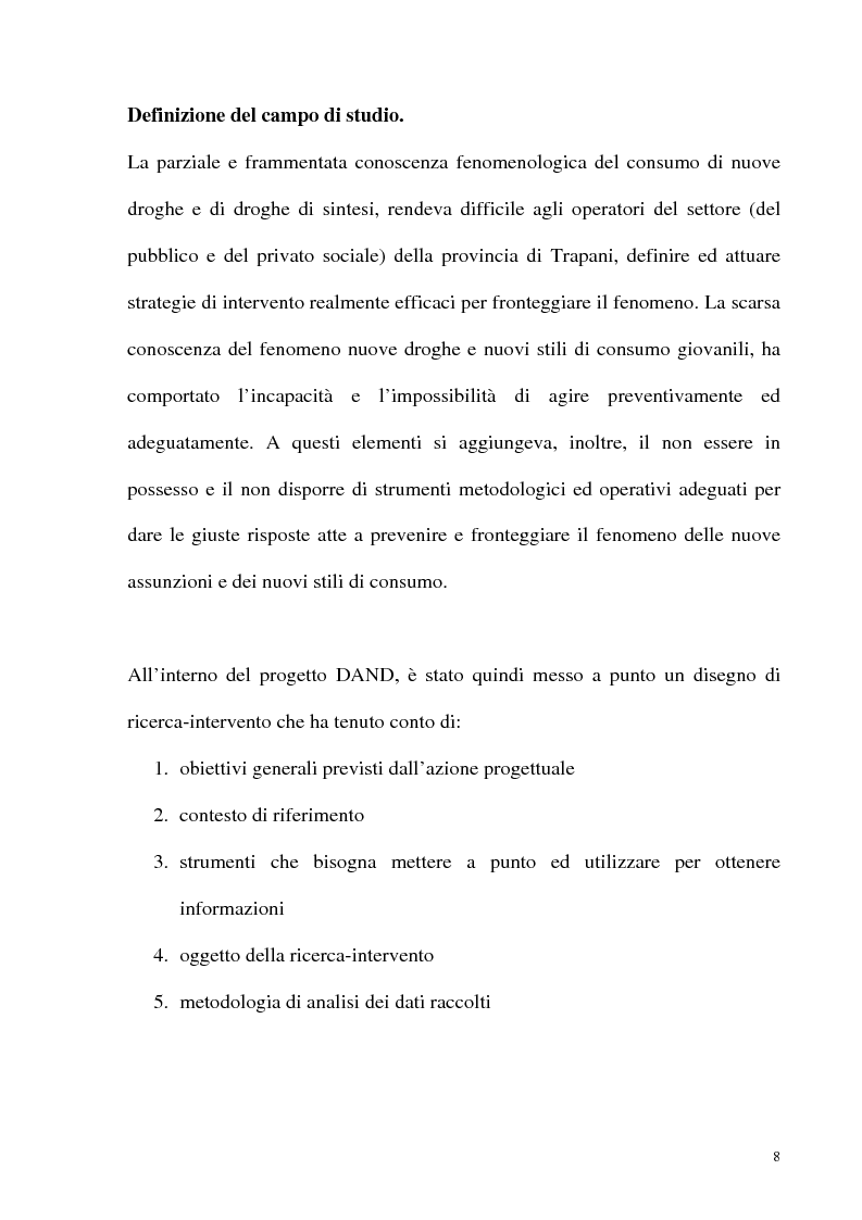 Anteprima della tesi: Il fenomeno delle assunzioni di nuove droghe nei giovani trapanesi. Stili comportamentali tra normalità e disagio, Pagina 6
