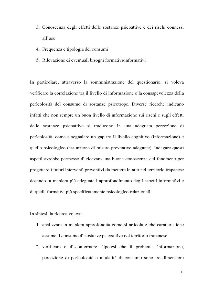 Anteprima della tesi: Il fenomeno delle assunzioni di nuove droghe nei giovani trapanesi. Stili comportamentali tra normalità e disagio, Pagina 9