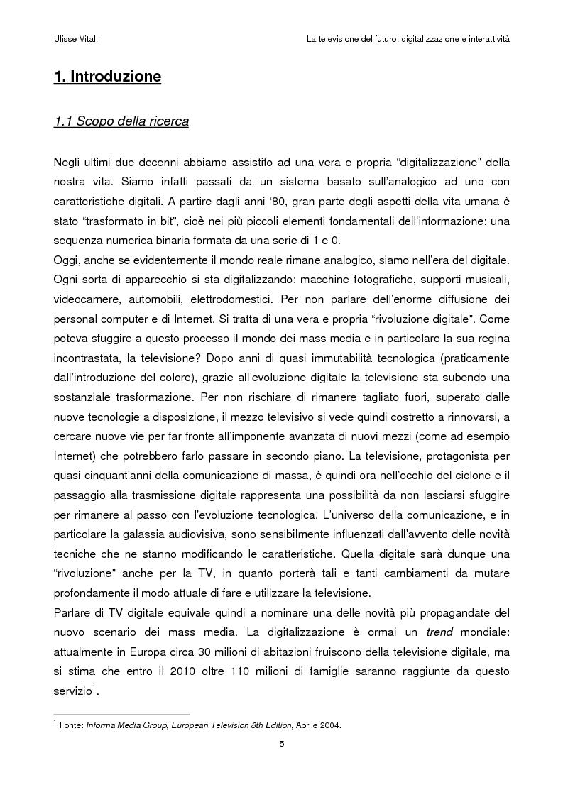 Anteprima della tesi: La televisione del futuro: digitalizzazione e interattività, Pagina 1