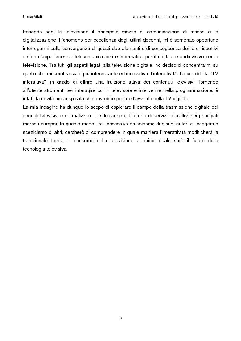 Anteprima della tesi: La televisione del futuro: digitalizzazione e interattività, Pagina 2