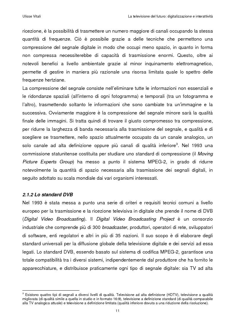 Anteprima della tesi: La televisione del futuro: digitalizzazione e interattività, Pagina 7