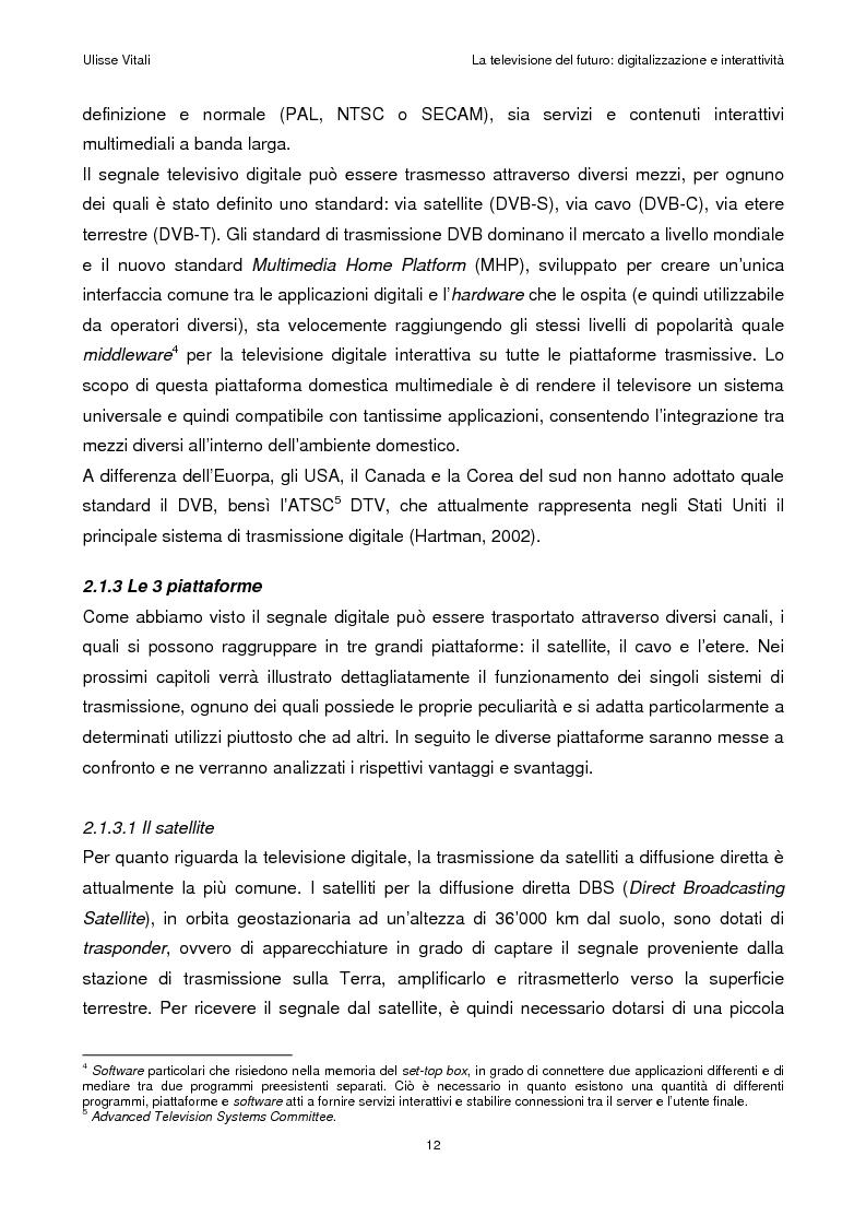 Anteprima della tesi: La televisione del futuro: digitalizzazione e interattività, Pagina 8