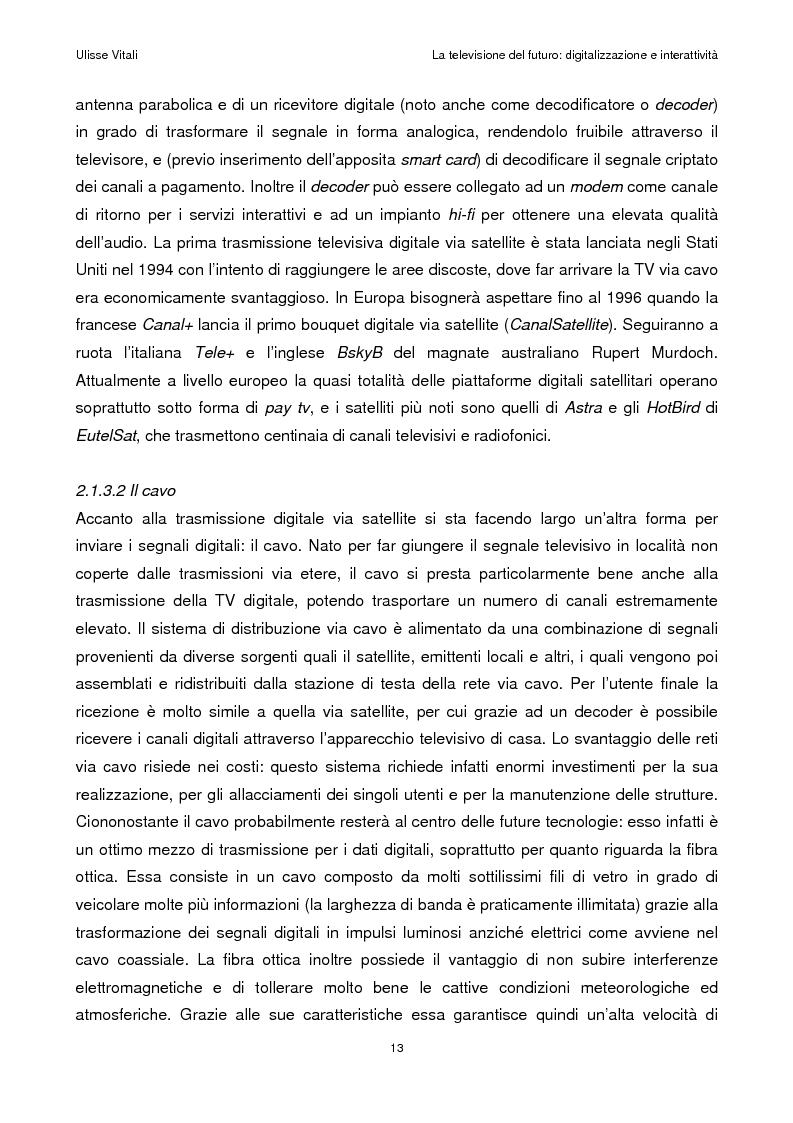 Anteprima della tesi: La televisione del futuro: digitalizzazione e interattività, Pagina 9