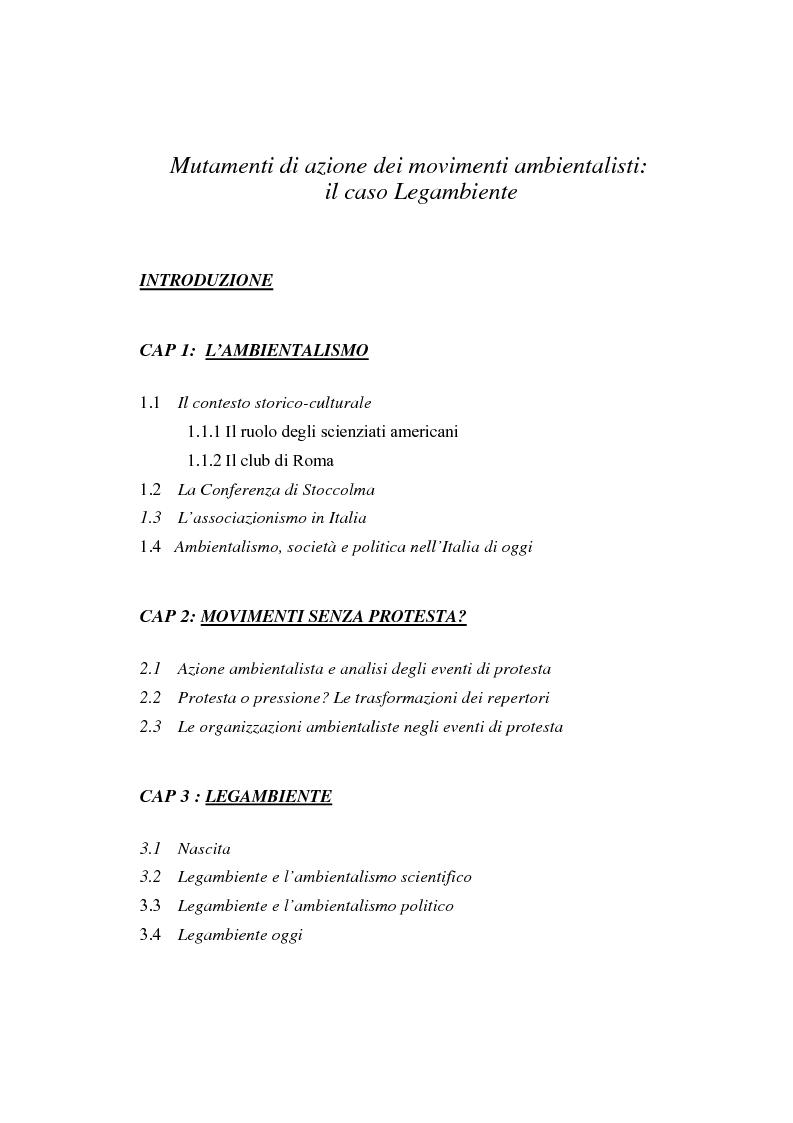 Indice della tesi: Mutamenti di azione dei movimenti ambientalisti : il caso Legambiente, Pagina 1