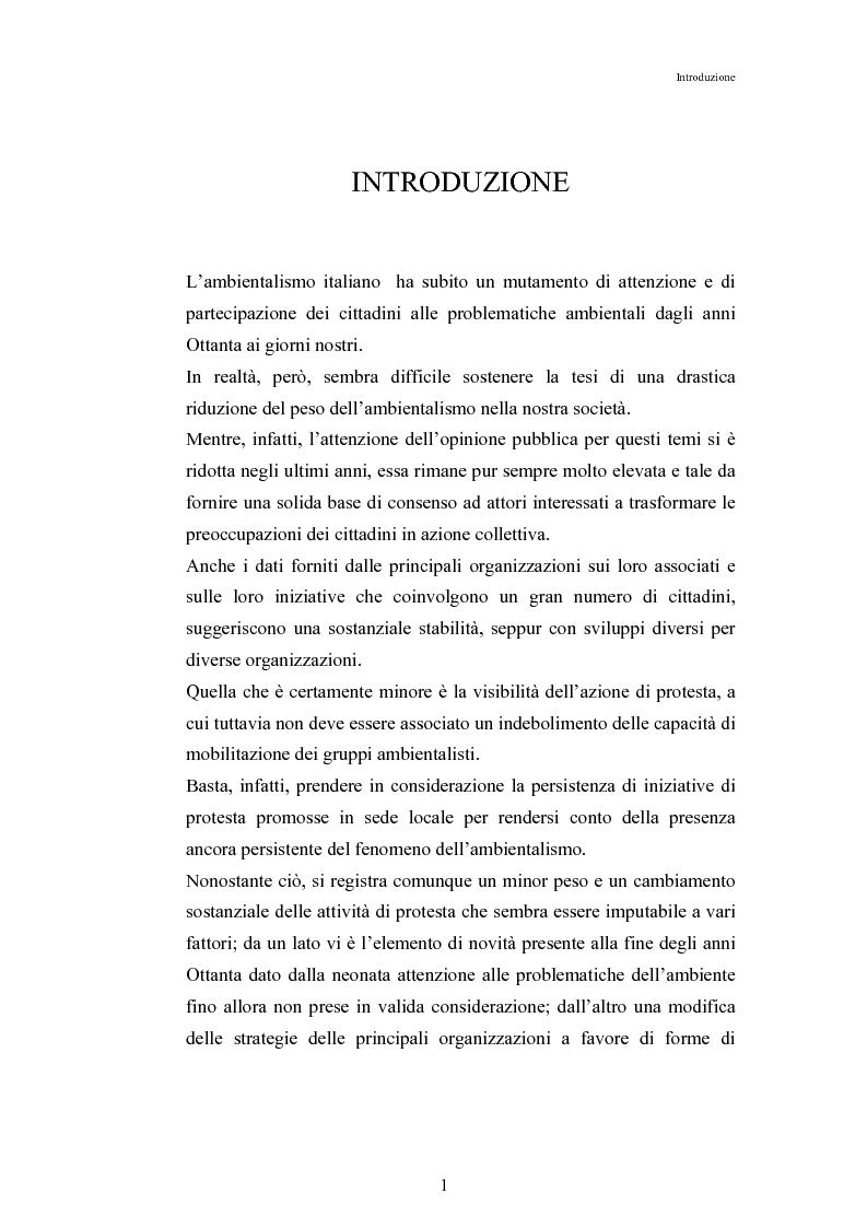 Anteprima della tesi: Mutamenti di azione dei movimenti ambientalisti : il caso Legambiente, Pagina 1
