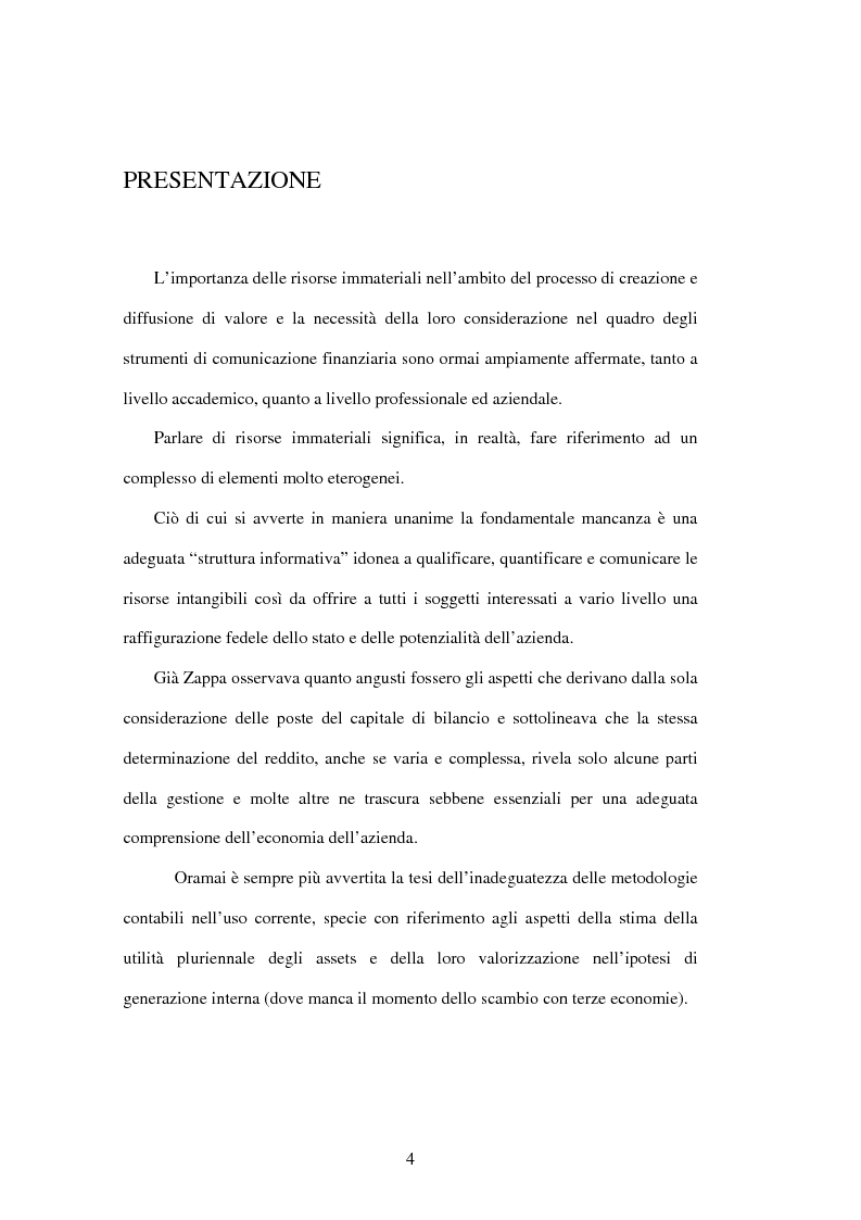 Anteprima della tesi: Le risorse immateriali nell'economia dell'Azienda. Profili valutativi, Pagina 1