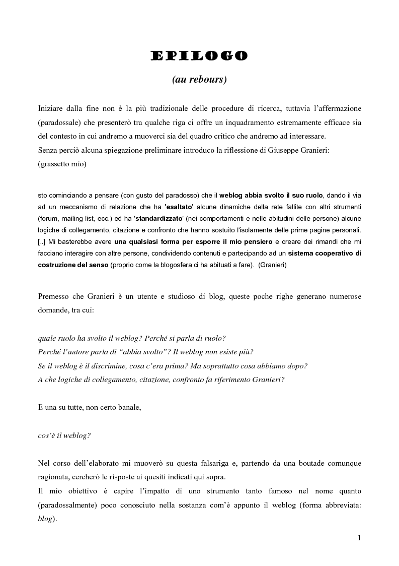 Anteprima della tesi: Nuovi spazi in Rete: il weblog, Pagina 1