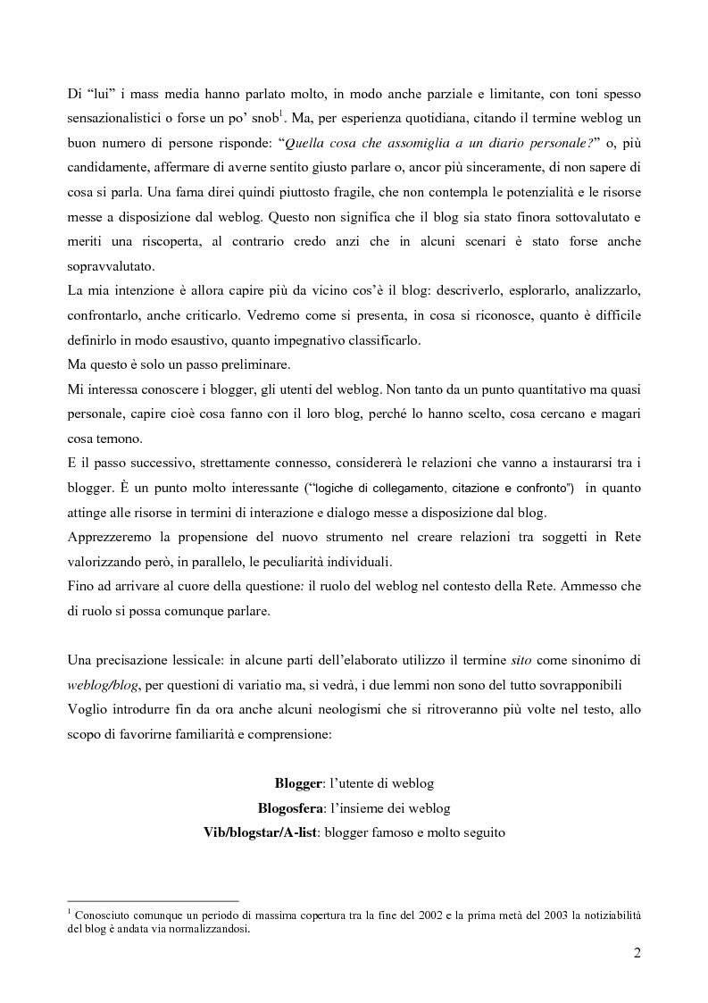 Anteprima della tesi: Nuovi spazi in Rete: il weblog, Pagina 2