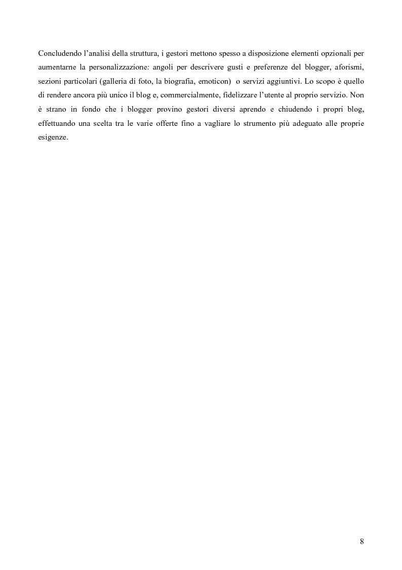 Anteprima della tesi: Nuovi spazi in Rete: il weblog, Pagina 8