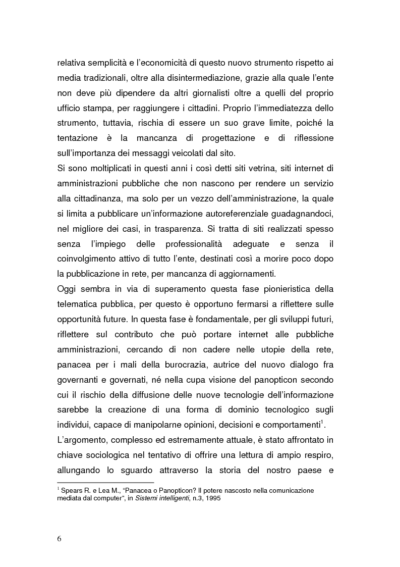 Anteprima della tesi: La Pubblica Amministrazione in rete; Il caso del comune di Pieve a Nievole, Pagina 2