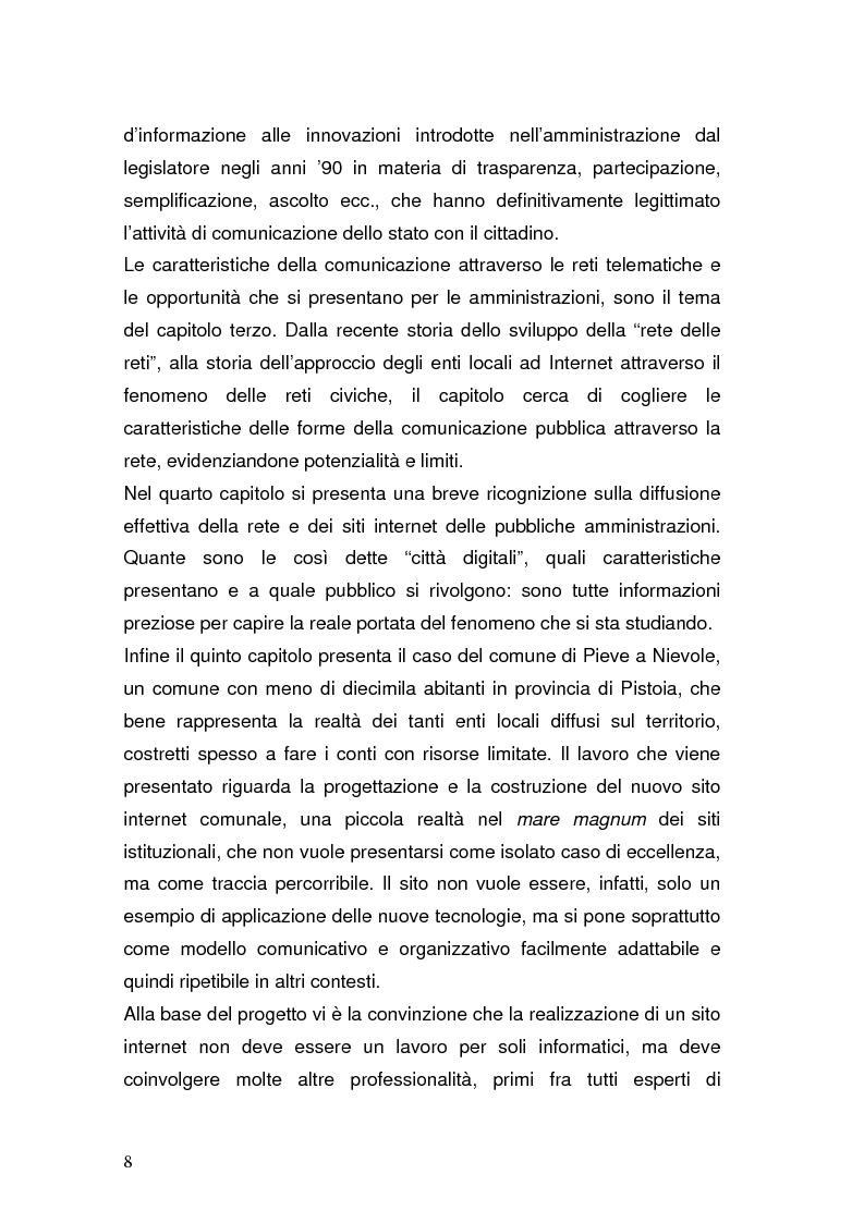 Anteprima della tesi: La Pubblica Amministrazione in rete; Il caso del comune di Pieve a Nievole, Pagina 4