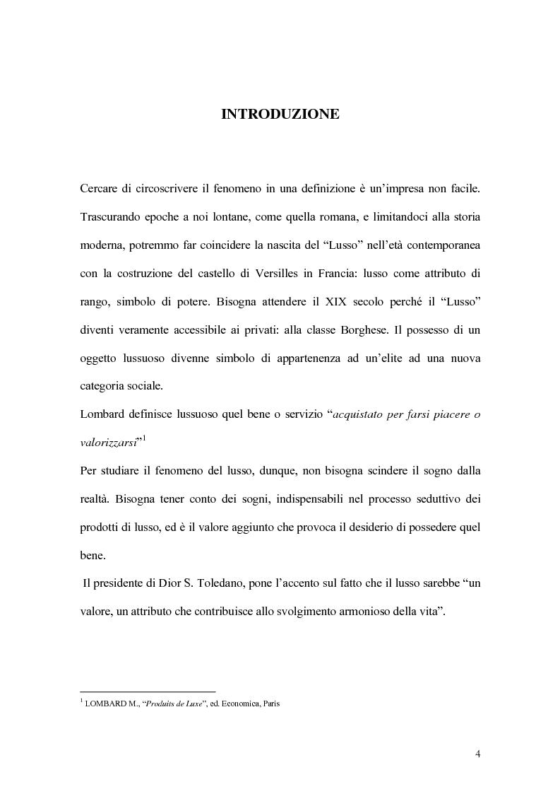 Anteprima della tesi: Percorsi di sviluppo delle imprese nel settore del lusso. I casi LVMH, Hermes e Gucci, Pagina 1