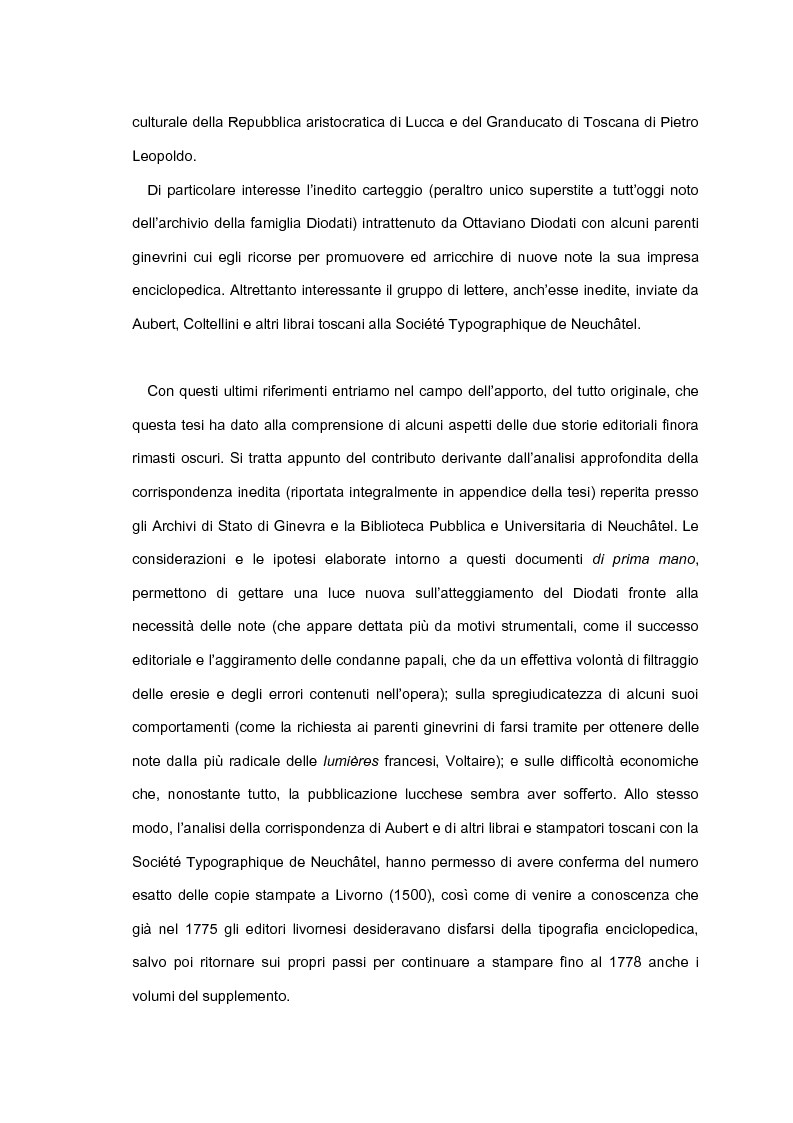 Anteprima della tesi: Le edizioni toscane dell'Encyclopédie. Il contributo di Ottaviano Diodati all'impresa lucchese e il confronto con le note del testo di Livorno, Pagina 3