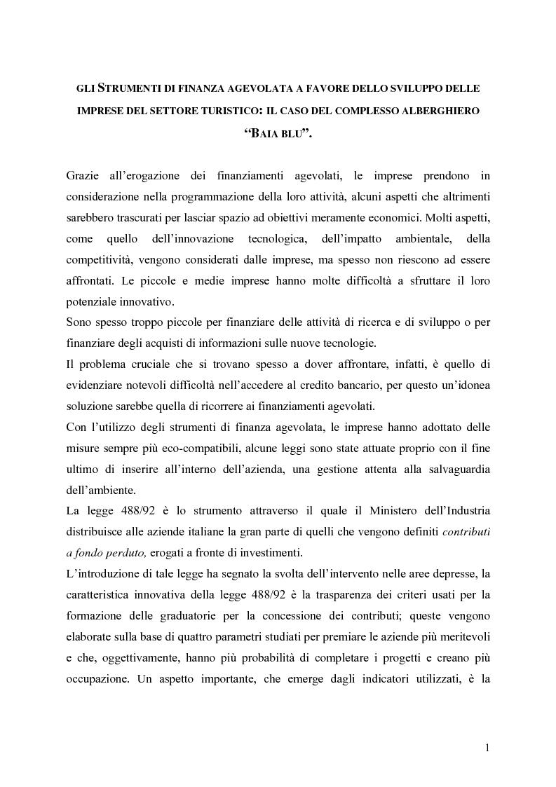Anteprima della tesi: Gli strumenti di finanza agevolata a favore dello sviluppo delle imprese del settore turistico: il caso del complesso alberghiero ''B.B.'', Pagina 1