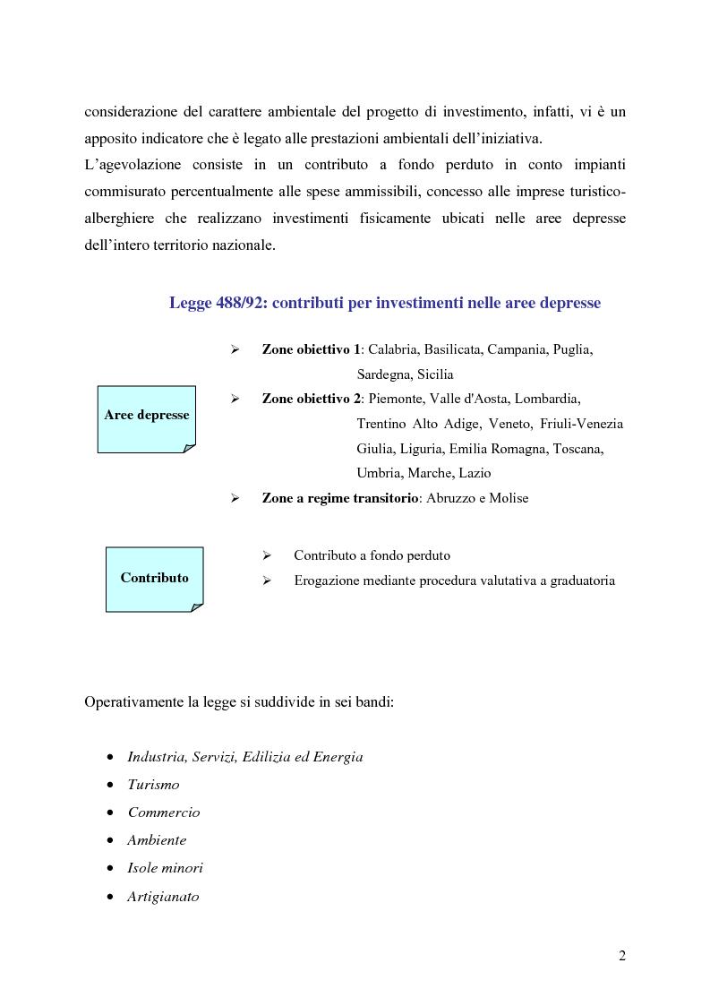 Anteprima della tesi: Gli strumenti di finanza agevolata a favore dello sviluppo delle imprese del settore turistico: il caso del complesso alberghiero ''B.B.'', Pagina 2