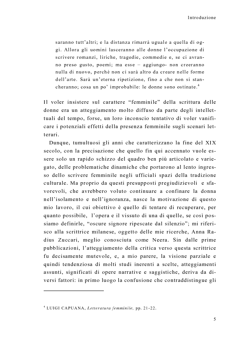 Anteprima della tesi: Tra calzette pizzi e merletti, Neera, scrittrice di talento, donna di alta moralità, Pagina 5