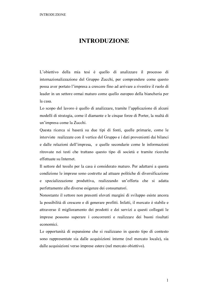 Anteprima della tesi: La strategia ed il processo di internazionalizzazione di un'impresa operante nel settore della biancheria per la casa: il Gruppo Zucchi, Pagina 1