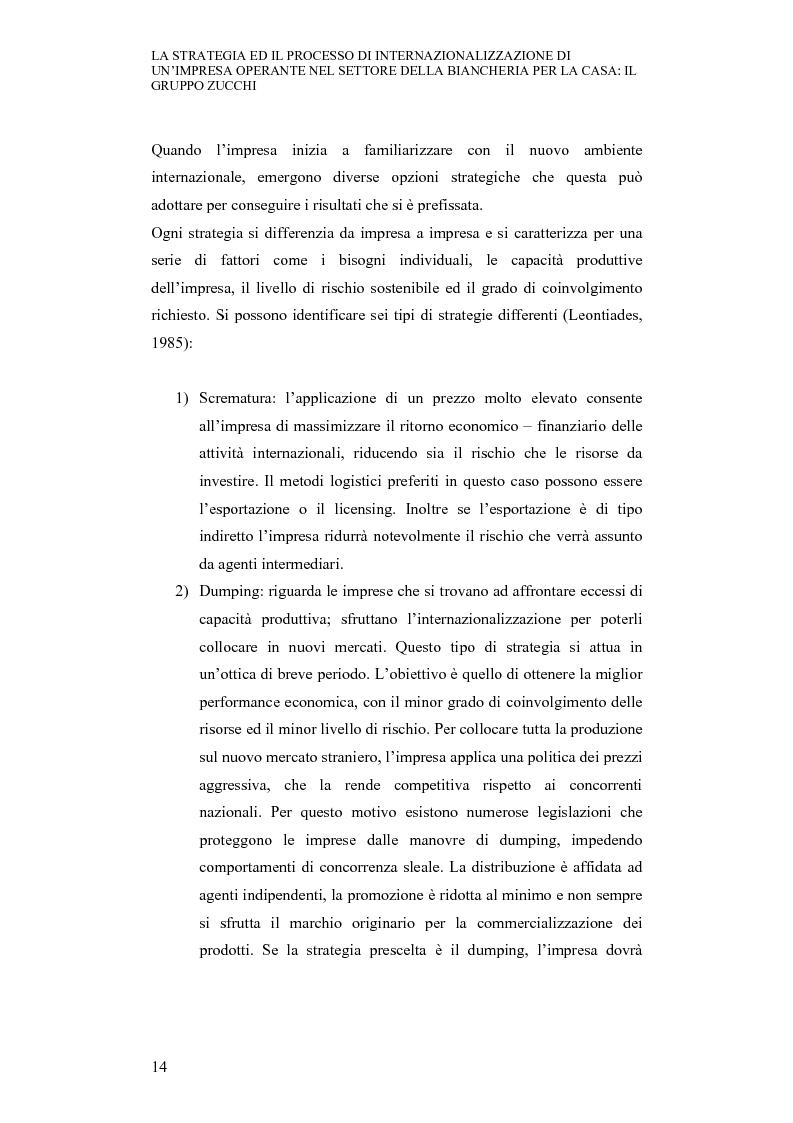 Anteprima della tesi: La strategia ed il processo di internazionalizzazione di un'impresa operante nel settore della biancheria per la casa: il Gruppo Zucchi, Pagina 13