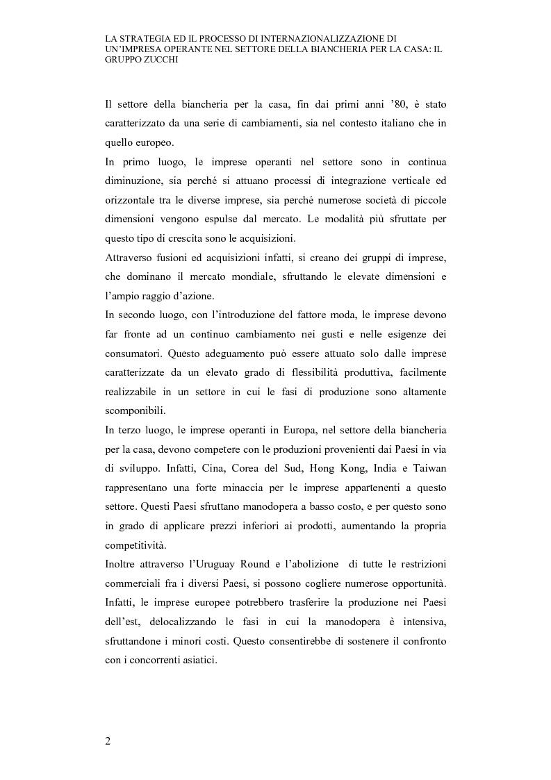 Anteprima della tesi: La strategia ed il processo di internazionalizzazione di un'impresa operante nel settore della biancheria per la casa: il Gruppo Zucchi, Pagina 2