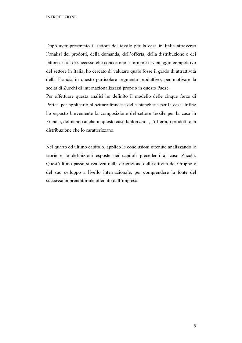 Anteprima della tesi: La strategia ed il processo di internazionalizzazione di un'impresa operante nel settore della biancheria per la casa: il Gruppo Zucchi, Pagina 5