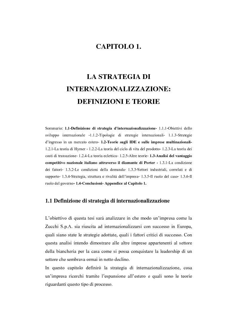 Anteprima della tesi: La strategia ed il processo di internazionalizzazione di un'impresa operante nel settore della biancheria per la casa: il Gruppo Zucchi, Pagina 6