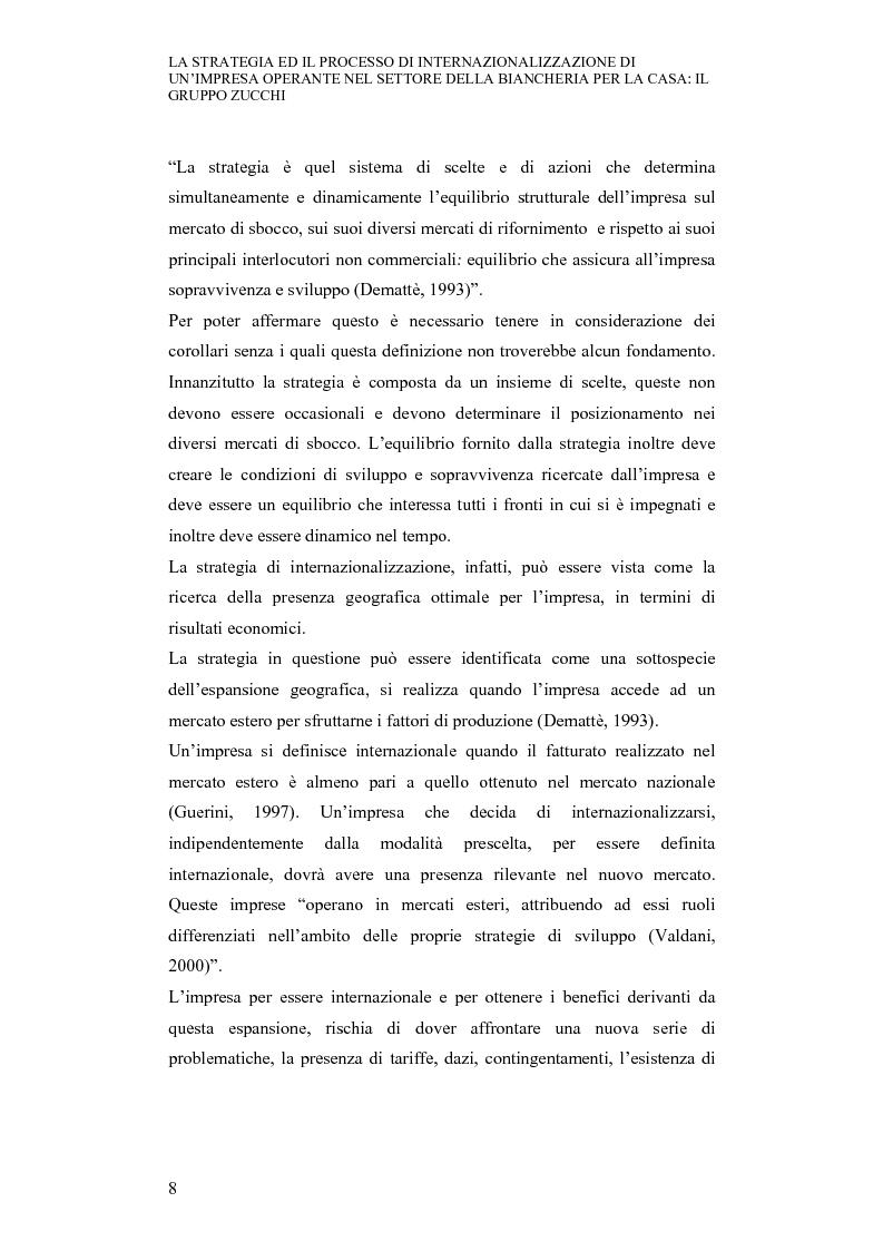 Anteprima della tesi: La strategia ed il processo di internazionalizzazione di un'impresa operante nel settore della biancheria per la casa: il Gruppo Zucchi, Pagina 7