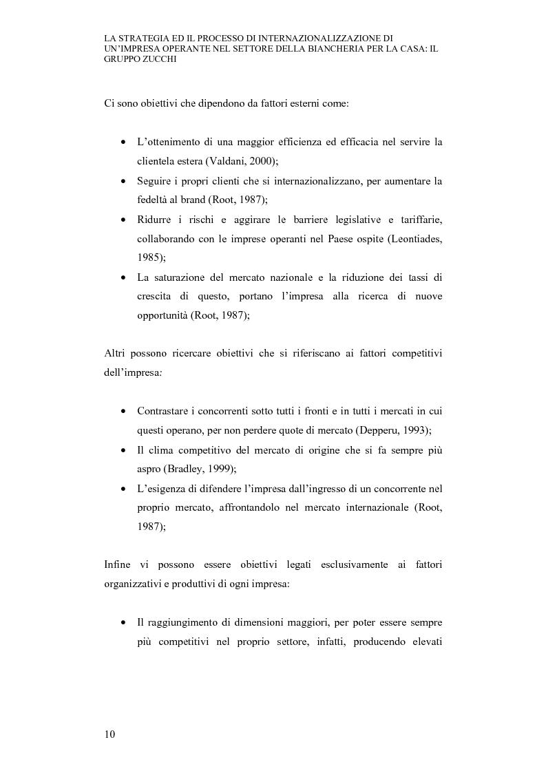 Anteprima della tesi: La strategia ed il processo di internazionalizzazione di un'impresa operante nel settore della biancheria per la casa: il Gruppo Zucchi, Pagina 9