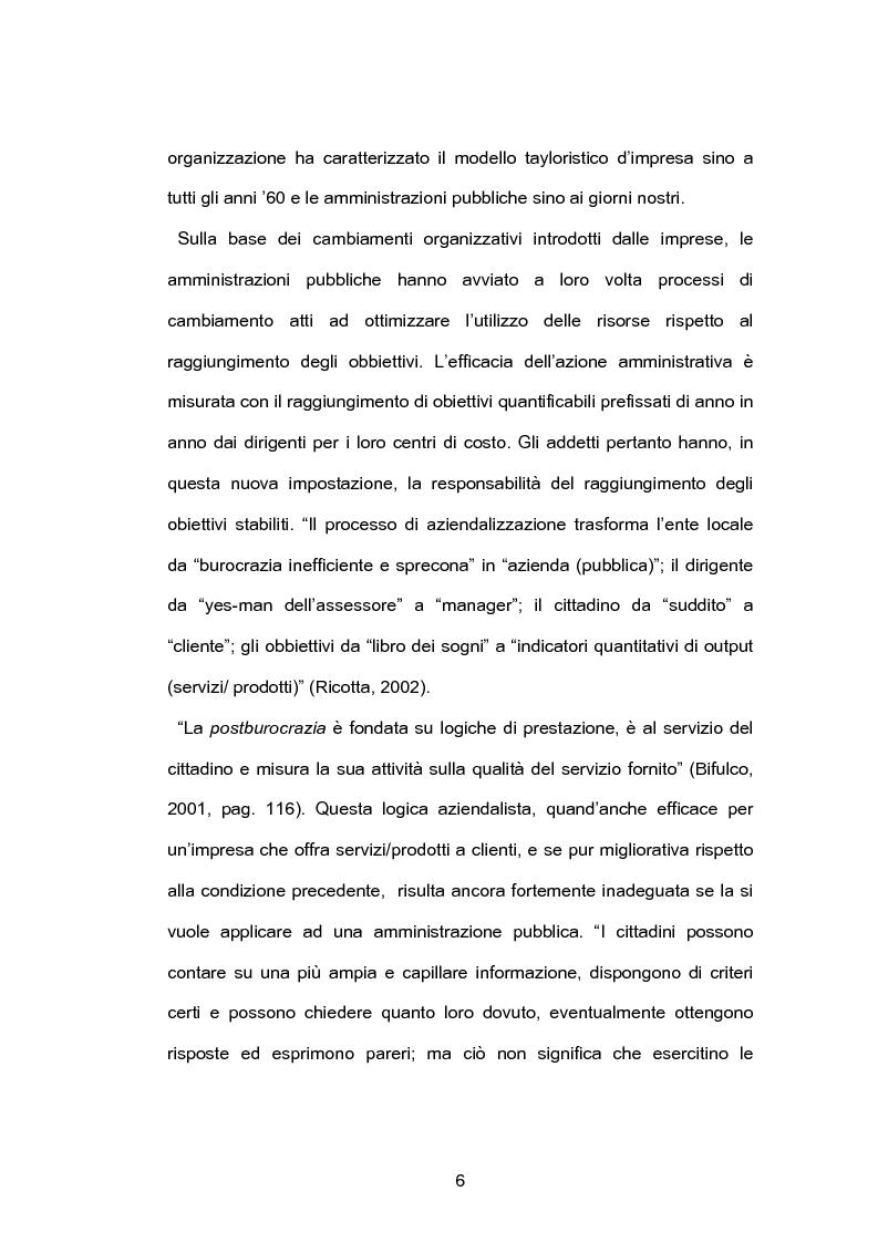 Anteprima della tesi: Pubblica amministrazione e partecipazione. Quale Amministrazione e per quale partecipazione?, Pagina 5