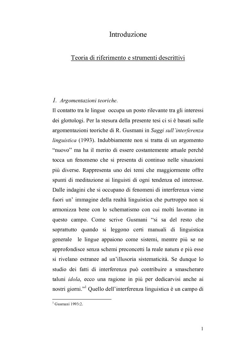 Anteprima della tesi: Studi di interferenza linguistica: americanismi e anglicismi., Pagina 1