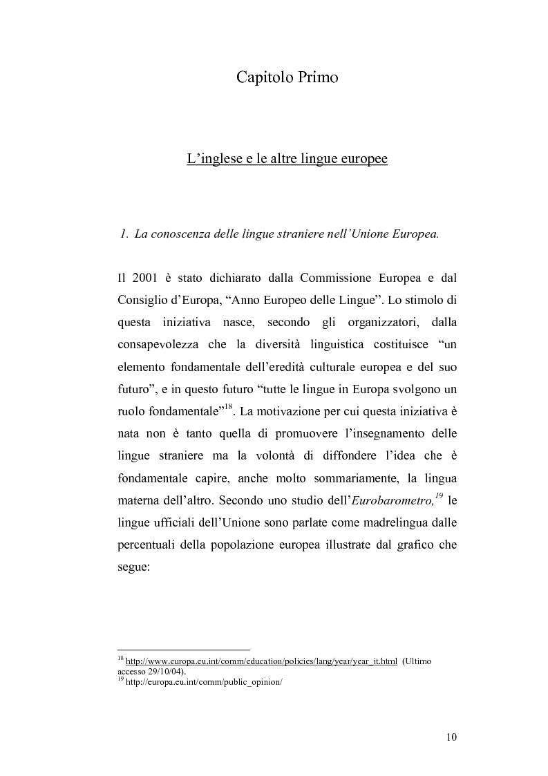Anteprima della tesi: Studi di interferenza linguistica: americanismi e anglicismi., Pagina 10
