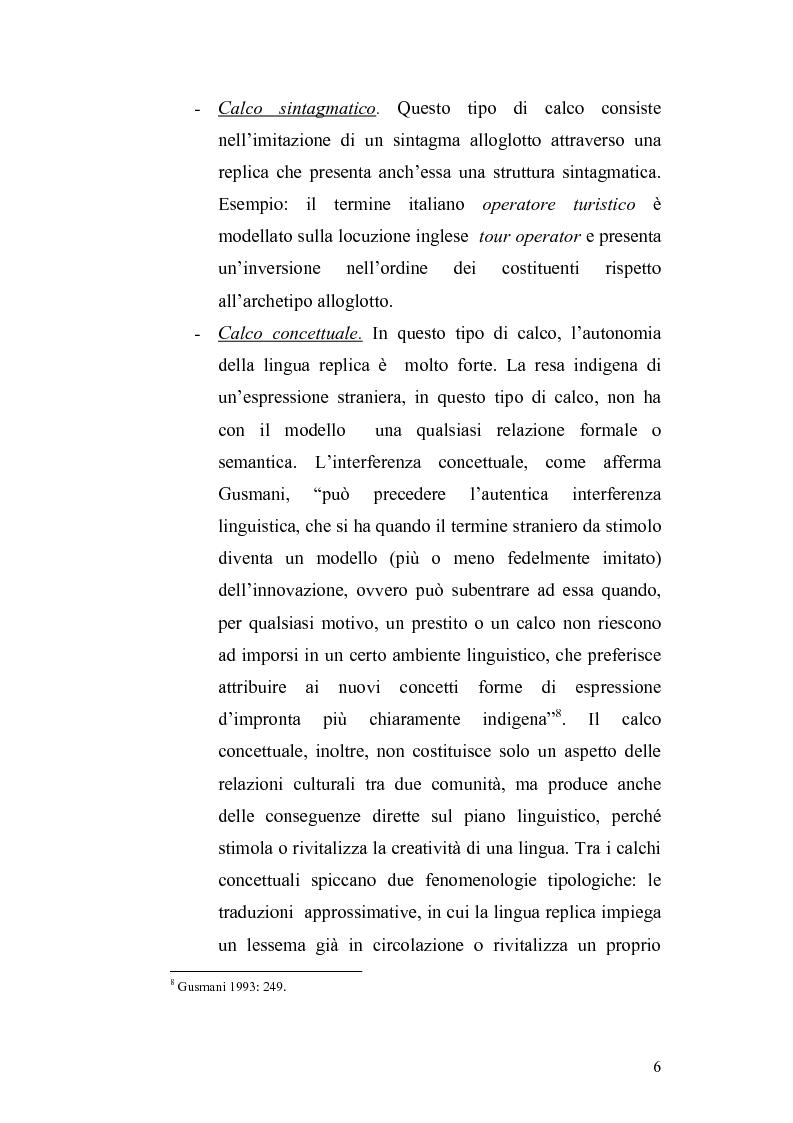 Anteprima della tesi: Studi di interferenza linguistica: americanismi e anglicismi., Pagina 6