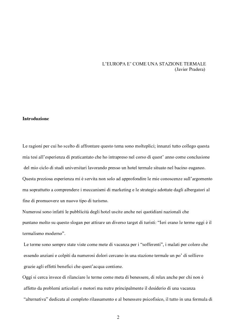 Anteprima della tesi: Il termalismo nei colli euganei: le nuove politiche di marketing di un turismo antico, Pagina 1