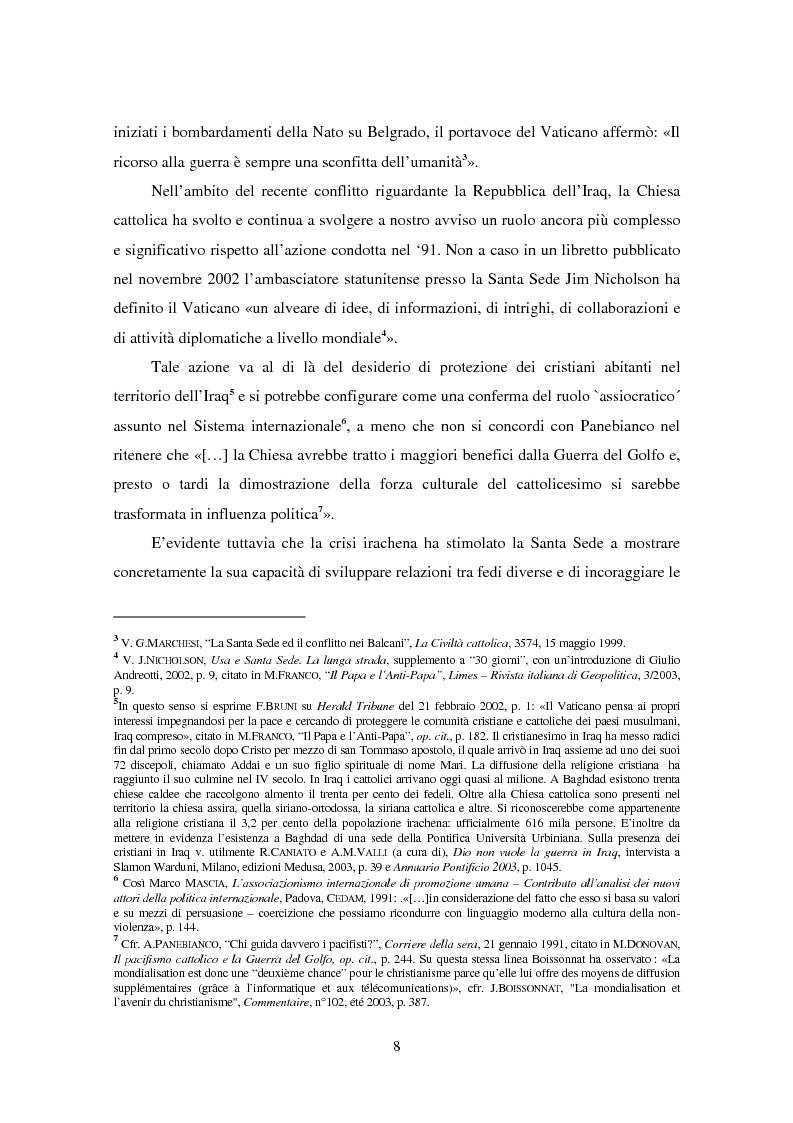 Anteprima della tesi: Il ruolo della Chiesa cattolica nella promozione della pace e della sicurezza internazionali: la Santa Sede ed il conflitto iracheno 2002-2004, Pagina 2