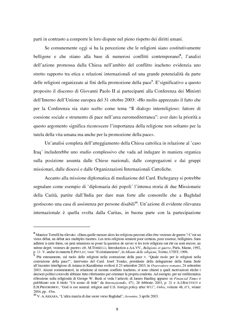 Anteprima della tesi: Il ruolo della Chiesa cattolica nella promozione della pace e della sicurezza internazionali: la Santa Sede ed il conflitto iracheno 2002-2004, Pagina 3