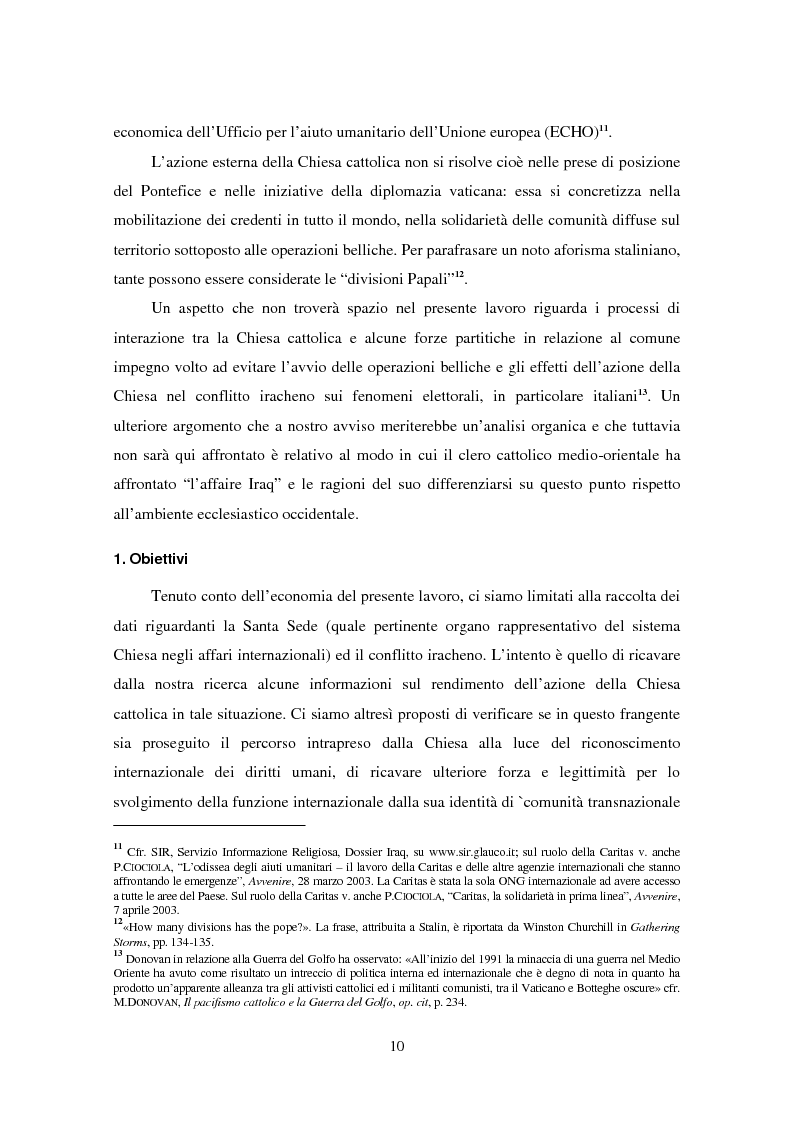 Anteprima della tesi: Il ruolo della Chiesa cattolica nella promozione della pace e della sicurezza internazionali: la Santa Sede ed il conflitto iracheno 2002-2004, Pagina 4
