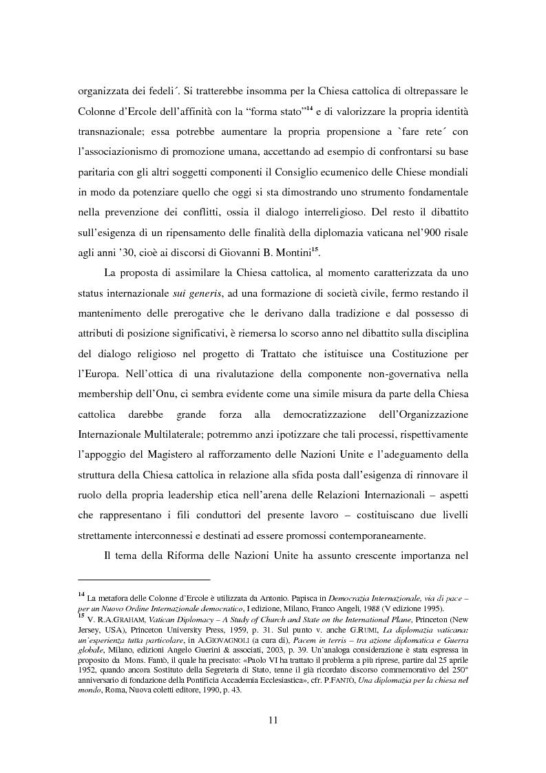 Anteprima della tesi: Il ruolo della Chiesa cattolica nella promozione della pace e della sicurezza internazionali: la Santa Sede ed il conflitto iracheno 2002-2004, Pagina 5