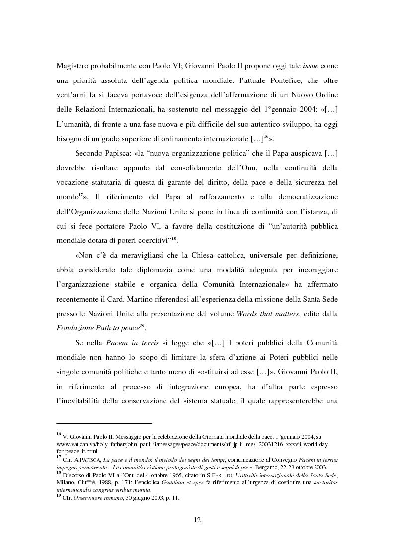 Anteprima della tesi: Il ruolo della Chiesa cattolica nella promozione della pace e della sicurezza internazionali: la Santa Sede ed il conflitto iracheno 2002-2004, Pagina 6