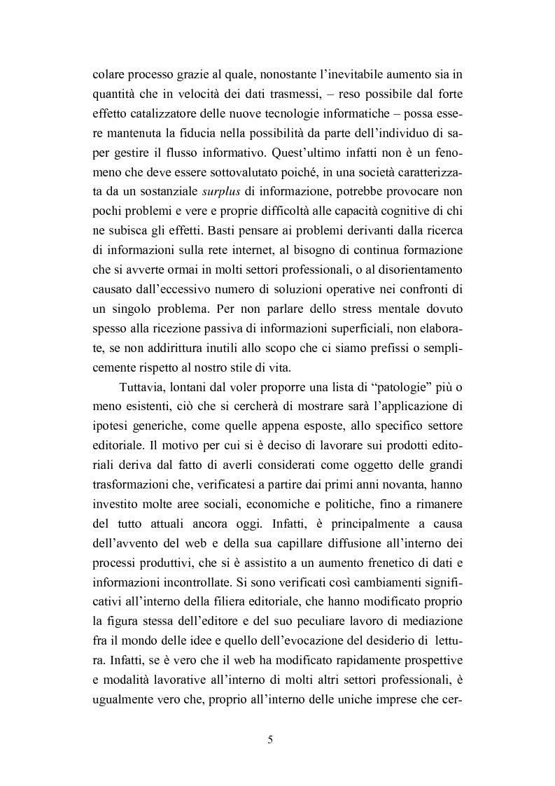 Anteprima della tesi: Dall'informazione esplosa alla conoscenza appetibile. Informatiotion Design per la presentazione di contenuti editoriali, Pagina 3