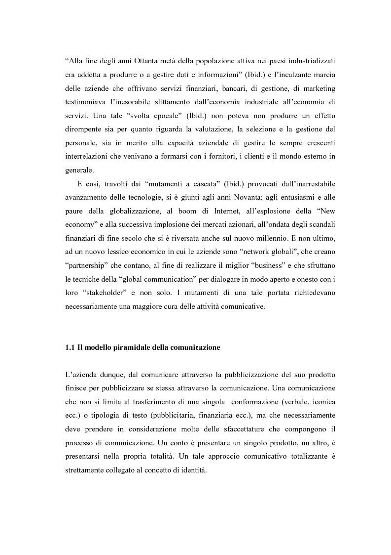 Anteprima della tesi: Comunicazione e l'identità oltre la comunicazione - Proiezioni e riflessioni sulla comunicazione aziendale delle Big Four Società di Consulenza Aziendale (PWC, KPMG, Ernst & Young, Deloitte), Pagina 3