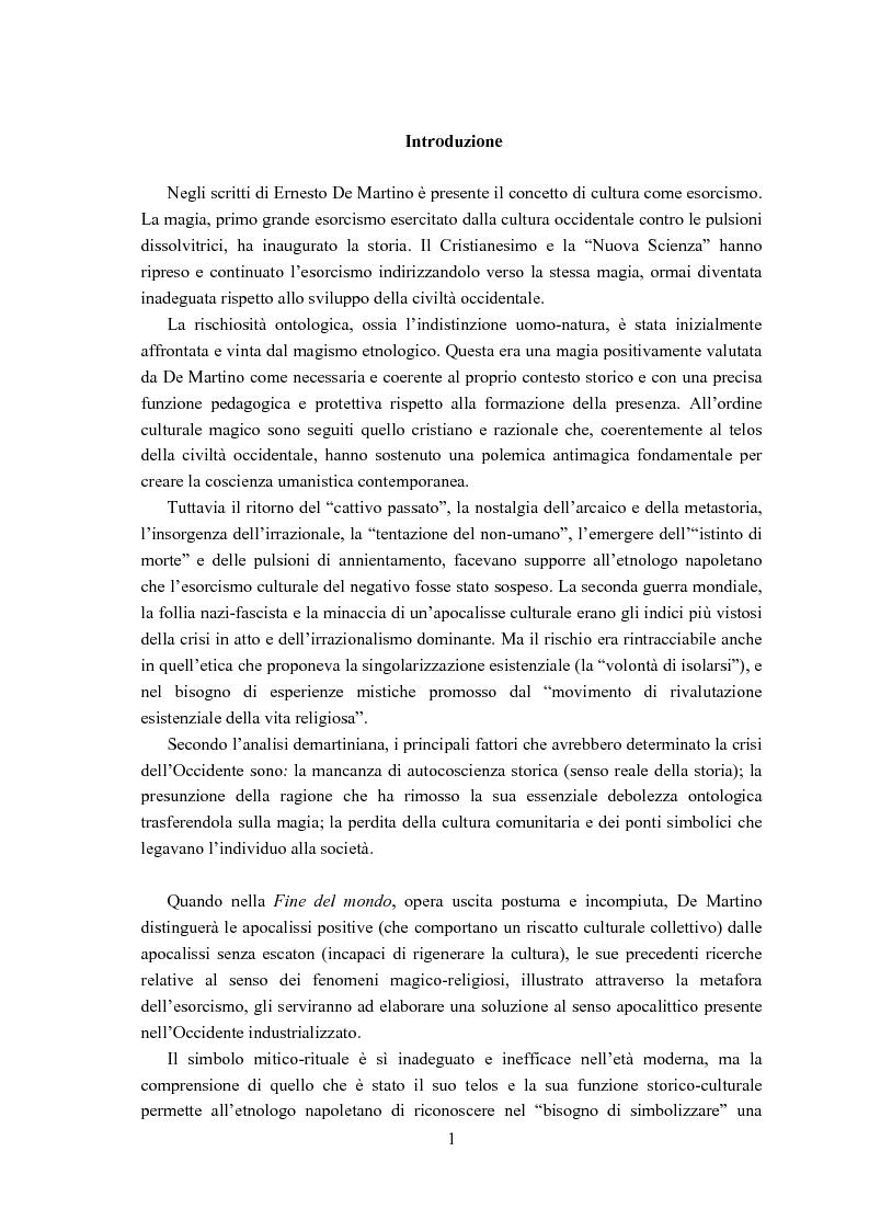 Anteprima della tesi: Ernesto de Martino e l'esorcismo culturale: dal simbolo mitico-rituale all'umanesimo integrale, Pagina 1