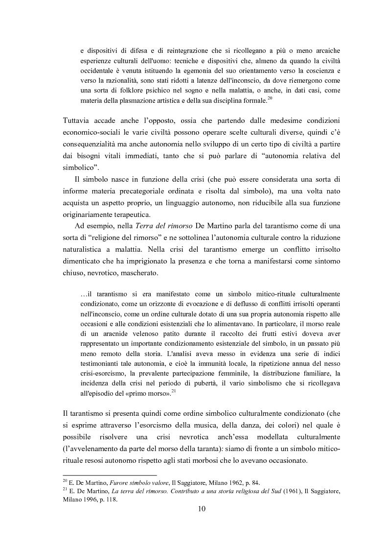 Anteprima della tesi: Ernesto de Martino e l'esorcismo culturale: dal simbolo mitico-rituale all'umanesimo integrale, Pagina 10